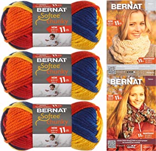 Bernat Softee Chunky Yarn Bundle Super Bulky #6, 3 Skeins Schoolyard Ombre 29134