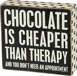 Primitives by Kathy Polka Dot Trimmed Box Sign, Chocolate is Cheaper