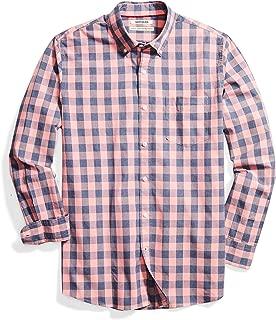 Men's Standard-Fit Long-Sleeve Gingham Plaid Poplin Shirt