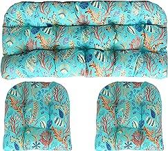 RSH DECOR Indoor Outdoor 3 Piece Wicker Tufted Cushion Piece Set ~ Blue, Peach, White, Cream, Orange, Coral, Red ~ Ocean Life ~ Coastal ~ Coral Reef