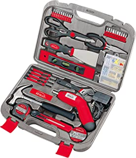 Apollo Tools DT0773 135 Piece Complete Household Tool Kit with 4.8 Volt Cordless Screwdriver and Most Useful Hand Tools an...