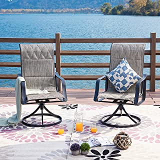 LOKATSE HOME Outdoor Patio Swivel Rocking Chair Set Sling(Set of 2), 2, Gray