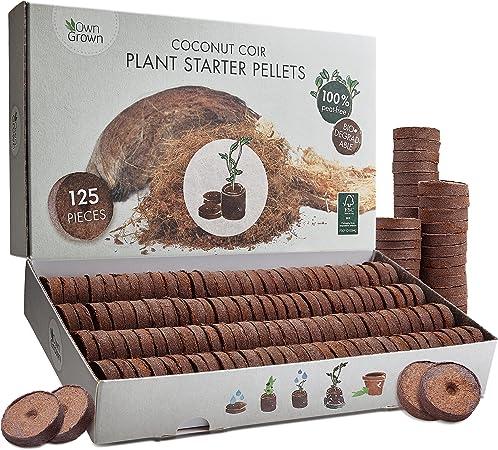 OwnGrown Kokos Quelltabletten mit Nährstoffen: 120 Premium Quelltabs aus Anzuchterde torffrei, ohne Pikieren – Kokoserde gepresst zur Pflanzen Anzucht, Anzucht Erde Kokos, Anzuchterde für Stecklinge.