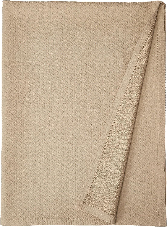 Natural Comfort Matelasse Blanket Coverlet, Herringbone Pattern, Queen, Washed Taupe