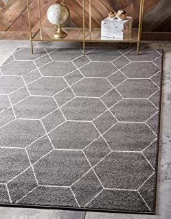 Unique Loom Trellis Frieze Collection Lattice Moroccan Geometric Modern Dark Gray Area Rug (8' 0 x 10' 0)