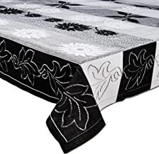 Amazon Brand - Solimo Cotton Blend Table Cover for 6 Seater Dining Table (Floral, Black)