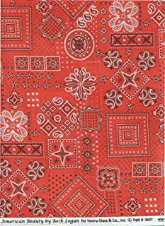 Giddy Up Ride Em Cowboy Red Bandana Fabric ~HALF YARD~ by Henry Glass 9607 American Beauty by Beth Logan Quilt Fabric 100% Cotton 45