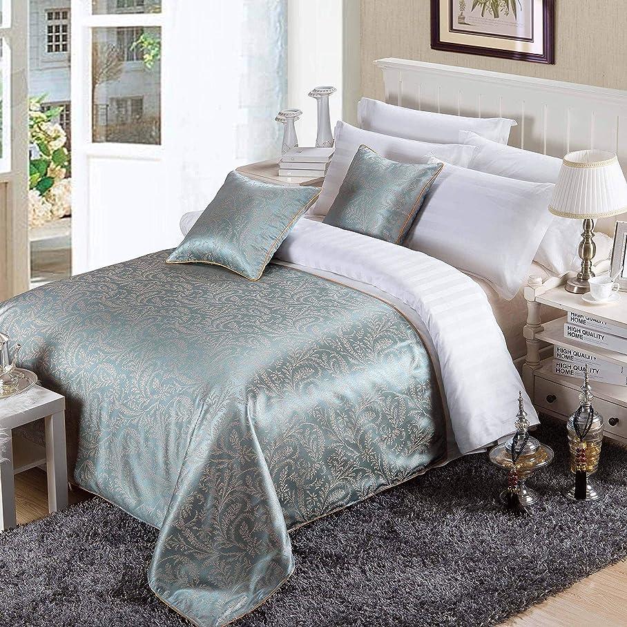 マニュアル首なめるOSVINO ベッドスプレッド ベッドメイキング ヨーロッパ風 ベッドライナー ホテル ジャガード織り 防塵 上品な雰囲気へ ベッド掛け 丸洗え シングル/セミダブル/ダブル ブルー セミダブル210x138cm