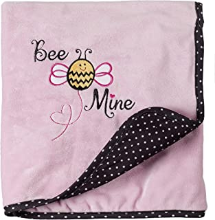 Ganz Bee Mine Baby Blanket Polyester Knit Plush Fleece Swaddle Snuggle Babies Blankie Crib Car Seat Stroller Fuzzy Warm Blankets Quilt Comfort Pink Black 30 by 36 Inches