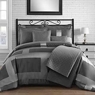 King & Queen Home Modern Frame Microfiber Lacquer 5 Piece Comforter Set (King)