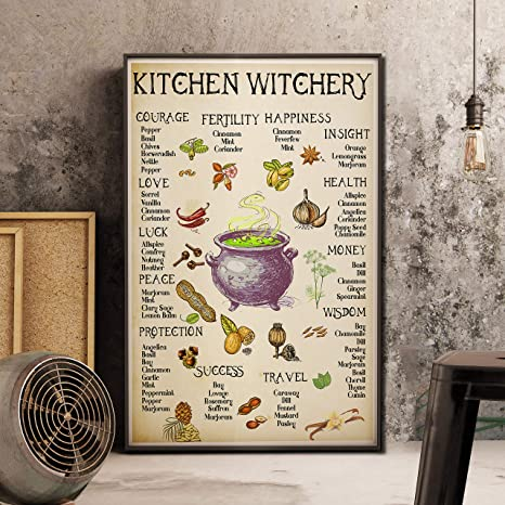 Amazon Com Kitchen Witchery Poster Witches Poster Witches Magic Knowledge Halloween Art Poster No Frame Magic Lover Poster Posters Prints
