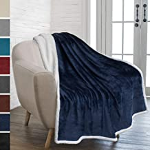 PAVILIA Premium Sherpa Fleece Throw Blanket   Soft, Plush, Fuzzy Navy Throw   Reversible Warm Cozy Microfiber Solid Blanket for Couch Sofa (Navy Blue, 50x60 Inches)