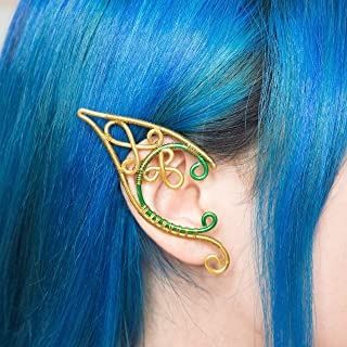 Ailin elfic earcuff, Orecchino elfico in filo metallico color oro e verde, Costumi, matrimoni, Orecchini fantasy regalo, R...