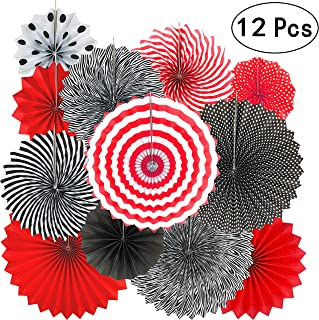 Casino Party Hanging Paper Fans Decorations - Viva Las Vegas Game Night Birthday Party Wedding Graduation Party Favors Ceiling Hangings Photo Booth Backdrops Decorations, 12pc