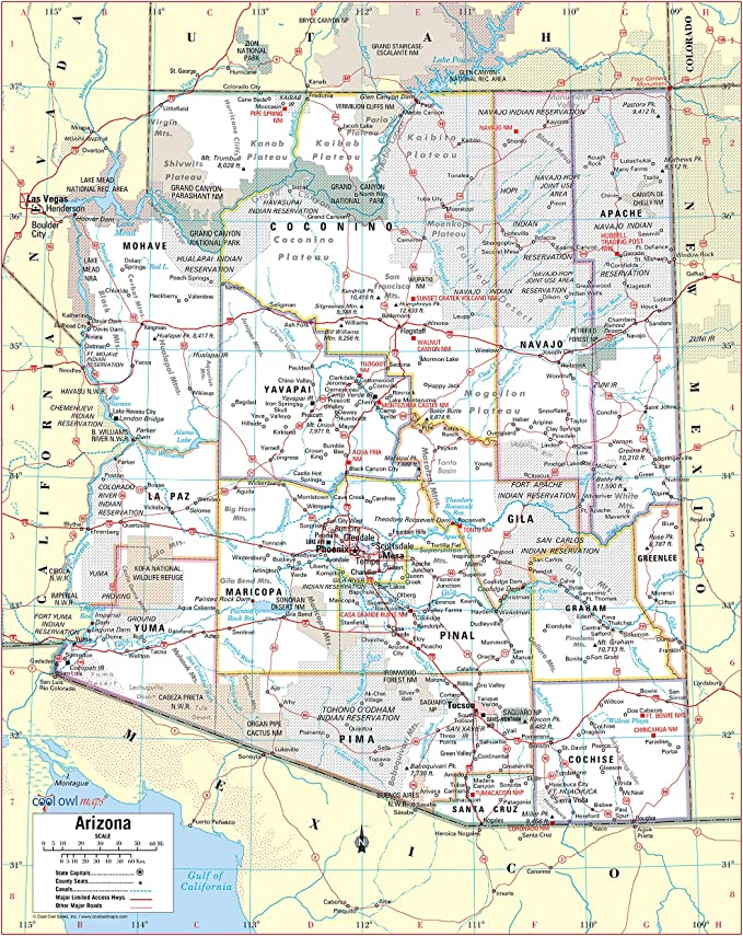 Cool Owl Maps Montana State Wall Map Poster Rolled 34Wx24H Laminated