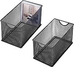 Black Mesh Metal CD Holder Box Organizer, Open Storage Bin, Set of 2