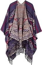Urban CoCo Women's Printed Tassel Open front Poncho Cape Cardigan Wrap Shawl
