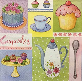 4 Single paper decoupage napkins Beautiful coffee tea time- 176 tea pots