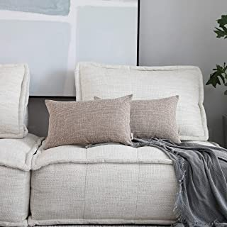 Kevin Textile Throw Cushion Covers Comfortable Faux Linen Pillows Cover for Chair/Sofa/Bed/Car, 12 x 20 inches, Natural Linen