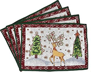 Tache Winter Forest Reindeer Antique Vintage Christmas Eve White Snowflakes Holiday Season Decorative Woven Tapestry Placemats, 13x19""
