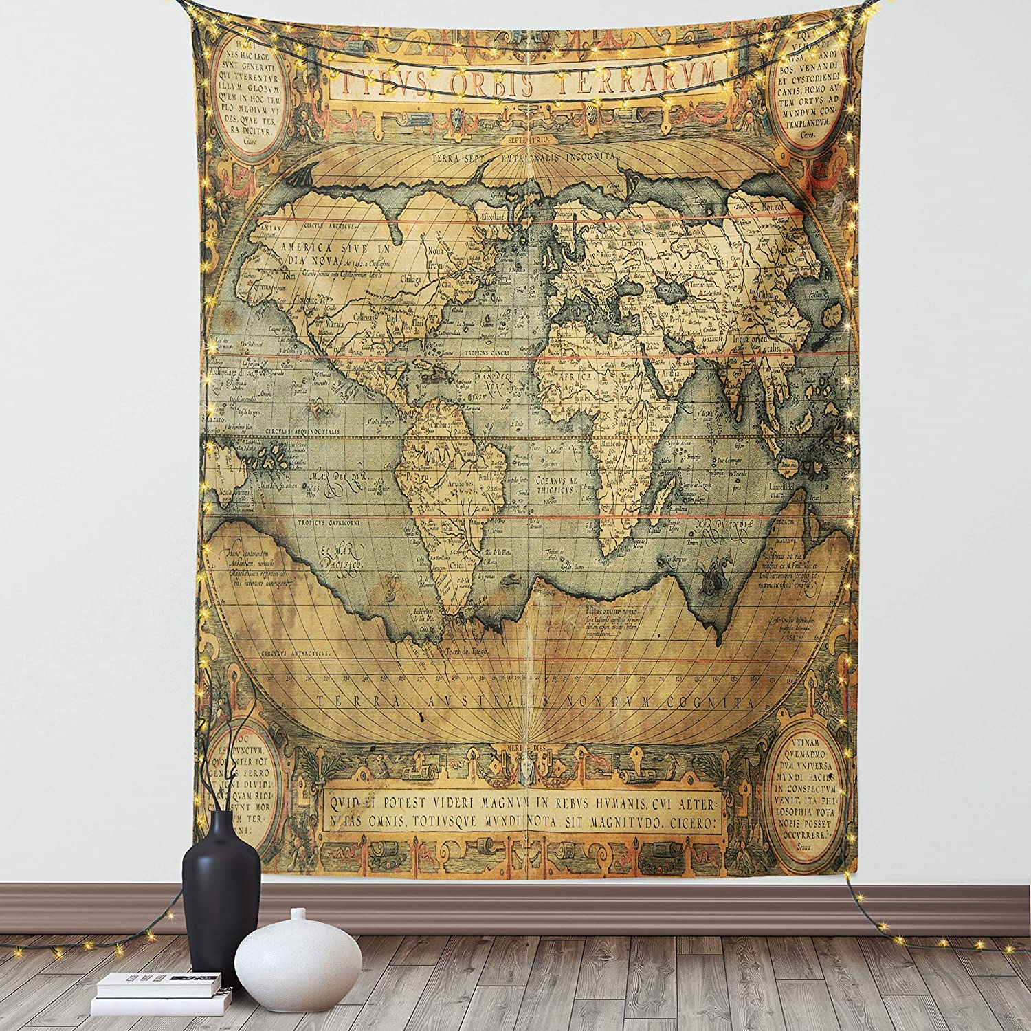 Lunarable Wanderlust Tapestry 16th Max 76% OFF Century Map His online shop World of The