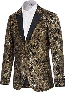 Mens Dress Floral Blazer Notched Lapel Slim Fit Stylish Tuxedo Suit Jacket