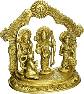 Gangesindia Brass Engraved Ram Darbar Murti Rama Sita Lakshman Hanuman Statue 1835 (7.25