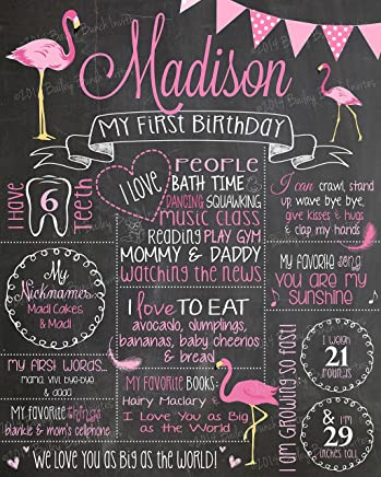 Pink Flamingo Inspired Milestone Birthday Chalkboard, MOUNTED & READY TO BE DISPLAYED or Print to