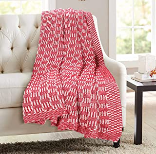 GLAMBURG 100% Cotton Knitted Throw Blanket for Couch Sofa Bed Beach Travel 50x60, Cotton Throw Blanket for Adults, All Season Chunky Knit Throw Blanket, Basket Weave Knitted Throw Blanket Red
