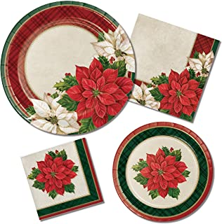 Plaid Poinsettia Plates & Napkins Party Kit for 8 Guests