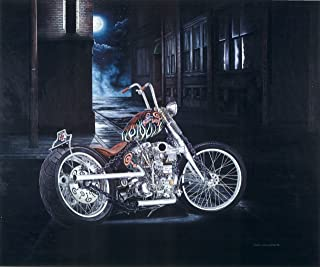 Limited Edition Motorcycle Print Indian Larry Chain of Mystery Bobber Signed Numbered Wall Art with Certificate - Original Painting by John Guillemette