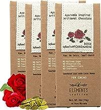 Elements Truffles Rose Bar with Cardamom Infusion - Dairy Free Chocolate Bar - Paleo, Gluten Free, Non-GMO, Raw & Organic Chocolate Bar - Ayurveda Inspired Healthy Chocolate Bar - Four Pack