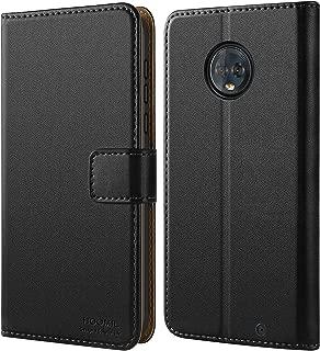 HOOMIL Case Compatible with Moto G6 Plus, Premium Leather Flip Wallet Phone Case for Motorola Moto G6 Plus Cover (Black)