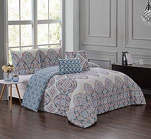 Geneva Home Fashion Avanti Comforter Set, Queen, Teal/Coral