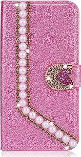 Miagon Diamantfodral för Huawei P Smart 2021, glitter strass pärla hjärta PU-läder folio flip plånbok fodral magnetisk stä...