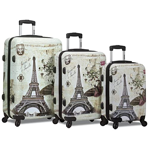 Dejuno 3-Piece Printed Lightweight Hardside Spinner Upright Hard Case Luggage Set - Paris Stamp