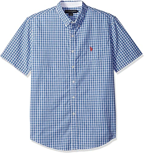 U.S. Polo Assn. Hommes's Classic Fit Single Pocket Stripe, Plaid Print Sport Shirt, Spbague Lake, S
