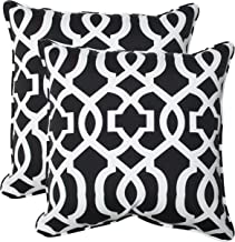 Pillow Perfect Outdoor New Geo Throw Pillow, 18.5-Inch, Black/White, Set of 2