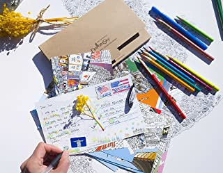 世界插图明信片 - 旅游艺术家绘制的图片,遍及整个世界