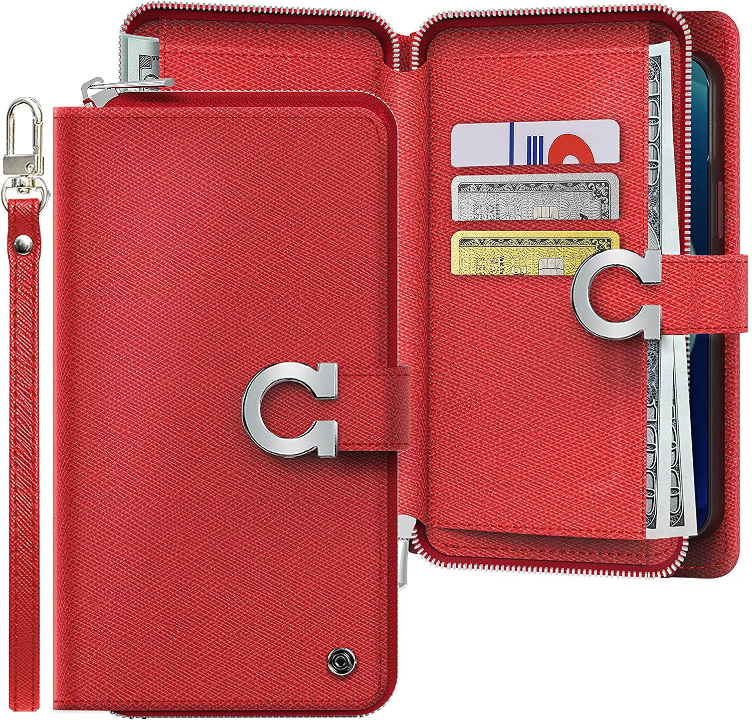 JUST4YOU Zipper Wallet Flip Cover Case Compatible with Apple iPhone 7/8 / SE (2020) [Handmade, Premium PU Leather, Credit Card Holder Slots, Hand Strap Included] - Red