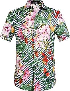 SSLR قمصان رجالية كاجوال بأزرار سفلية قصيرة الأكمام قمصان هاواي الاستوائية للرجال