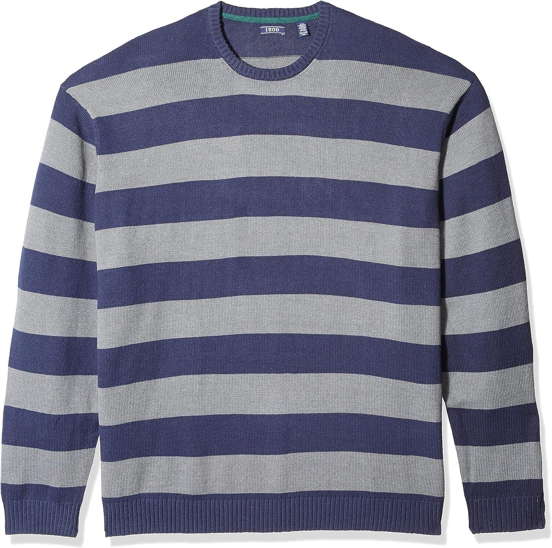 IZOD Men's Big and Tall Newport Stripe 7 Gauge Crewneck Sweater