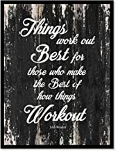 Things Work Out Best For Those Who Make The Best Of How Things Work Out John Wooden Motivation Quote Saying Canvas Print Home Decor Wall Art Gift Ideas, Black Frame, Black, 28