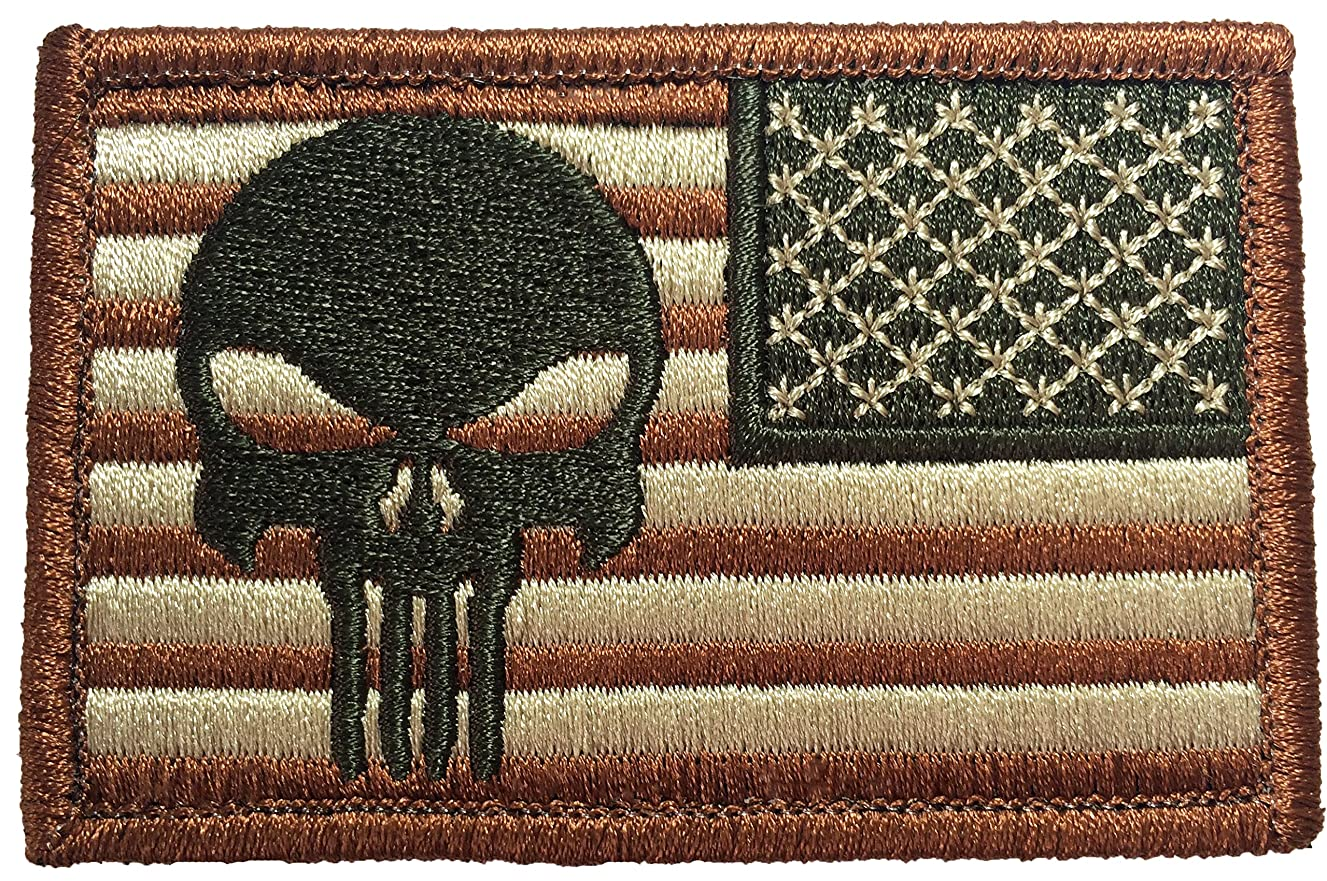 Tactical Reverse USA Flag with Skull Patch 2