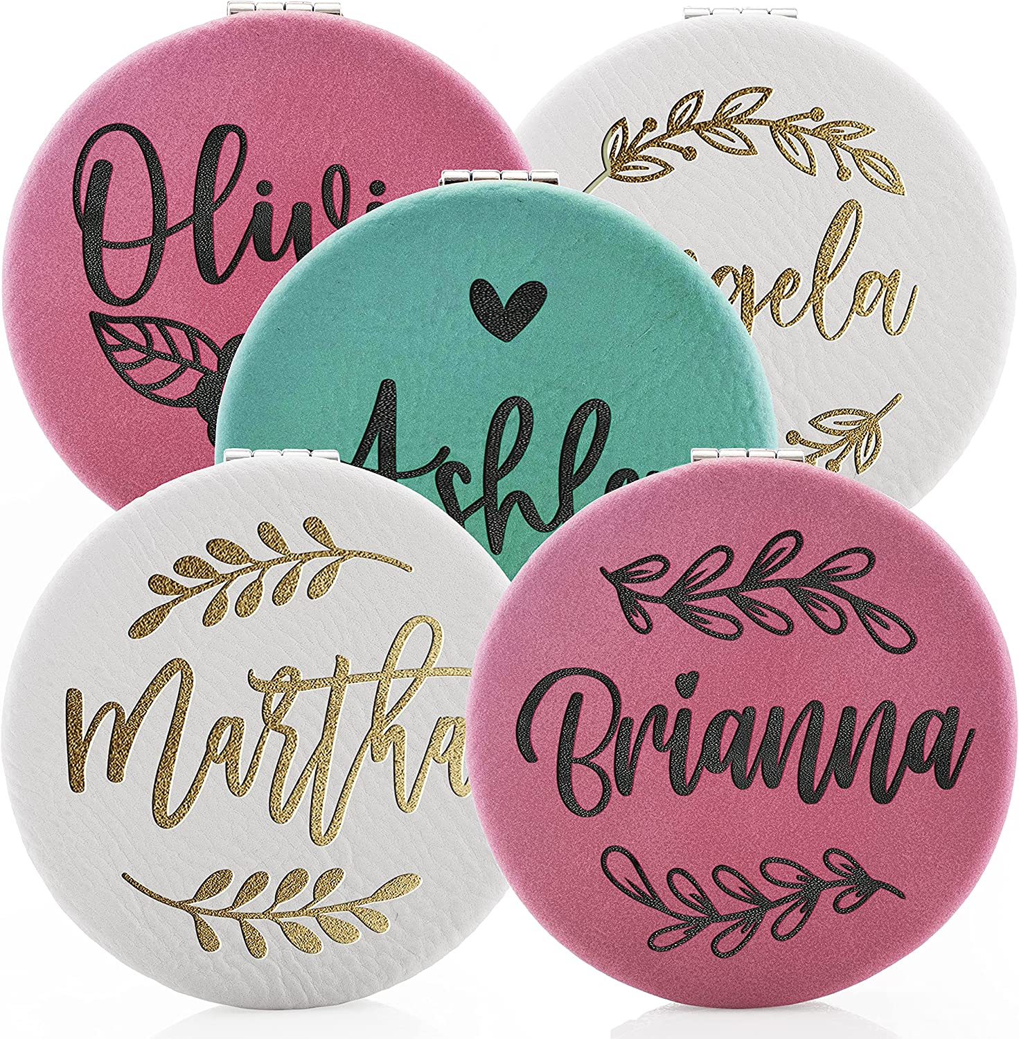 Set of 5 Bridesmaid Gifts Ranking TOP4 Sale SALE% OFF Compact Eng Personalized Mirror with