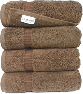 SALBAKOS Luxury Bath Towels -4-Piece Large Chocolate Bathroom Hotel Towel Set, Softest 700 GSM Genuine Turkish Cotton Eco-Friendly Bath Towel Set, 27x54 Inches