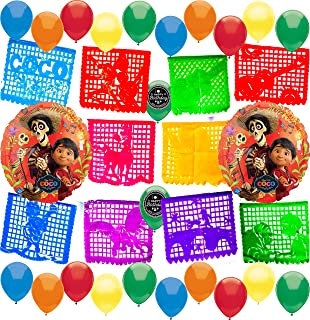 Coco Party Supplies Balloon Room Decoration Papel Picado Banner Decorating Bundle for Any Birthday Celebration