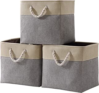 DECOMOMO Cube Foldable Storage Bin [3-Pack] Collapsible Sturdy Cationic Fabric Storage Basket with Handles for Organizing Shelf Nursery Home Closet Laundry & Office - Grey & Beige 13 x 13 x 13