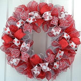 Red Christmas Wreath   Silver Christmas Wreath   Mesh Christmas Front Door Outdoor Wreath