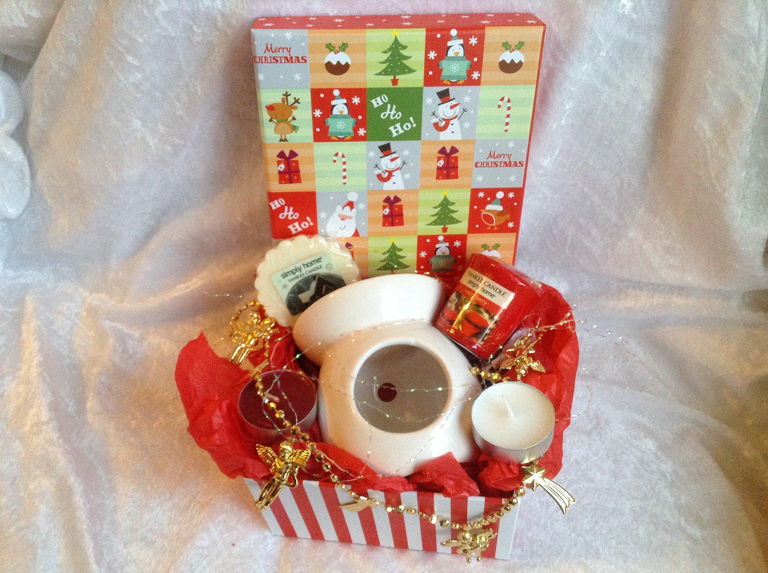 DISEÑO DE RAYAS DE CARAMELO DE NAVIDAD JUEGO DE YANKEE CANDLE ** En estuche regalo de Navidad con texto en inglés**: Amazon.es: Iluminación